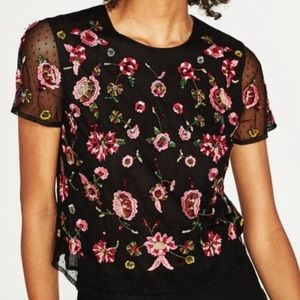 Zara black embroidered tulle top